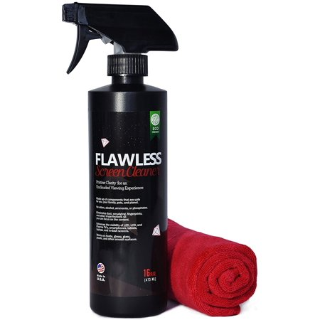Flawless Screen Cleaner Spray with Microfiber Cleaning Cloth for LCD, LED Displays on Computer, TV, iPad, Tablet, Phone, and More