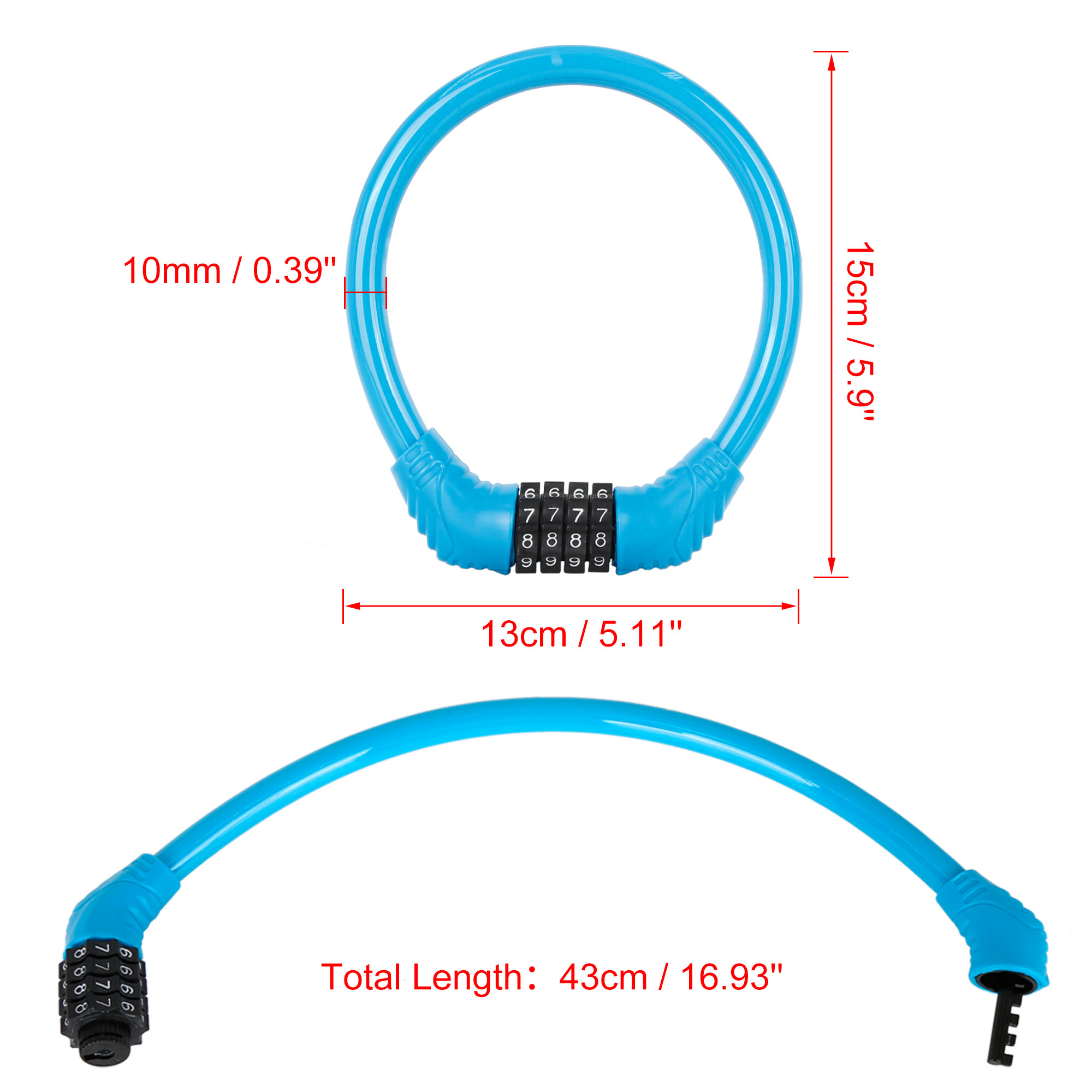43cmx10mm Portable 4 Digit Resettable Combination Bike Cable Lock Blue