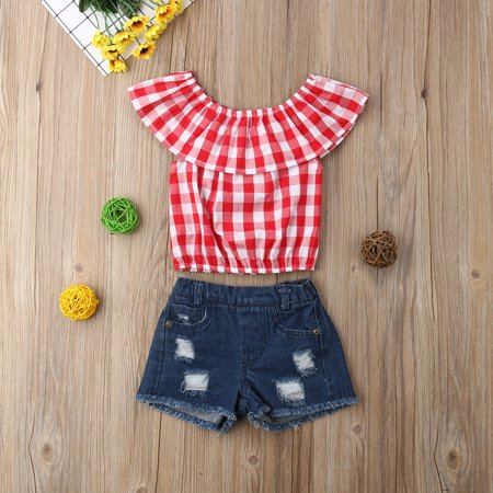 2Pcs Outfits Clothes Set Toddler Kids Clothing Baby Girl Cute Ruffle Plaid Vest Tank Top+Denim Ripped Short Jeans Pants