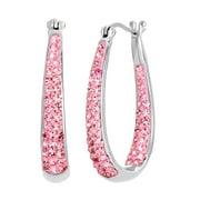 Sterling Silver Pink Crystal Hoop Earrings