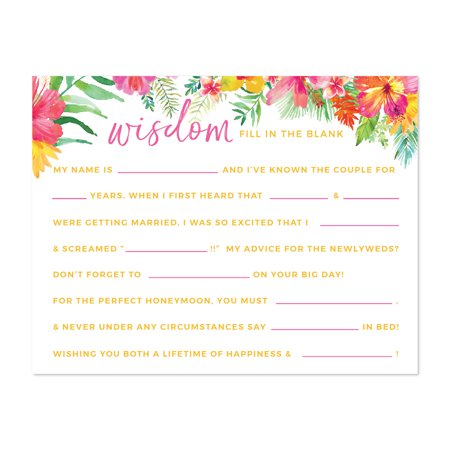 Tropical Floral Garden Party Wedding, Wedding Reception Fill in the Blanks Game Cards, 20-Pack