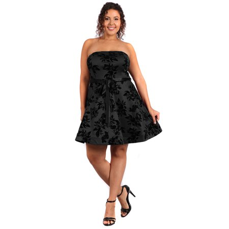 Plus Size Floral Design Strapless Fit & Flare Cocktail Dress U.S.A - 1X / Black