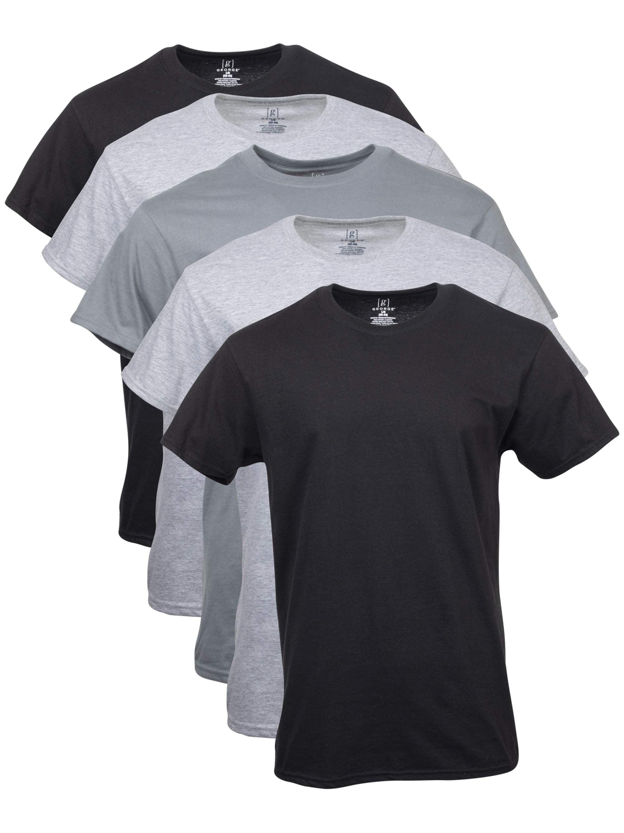 George Men's Crew T-Shirts, 5-Pack