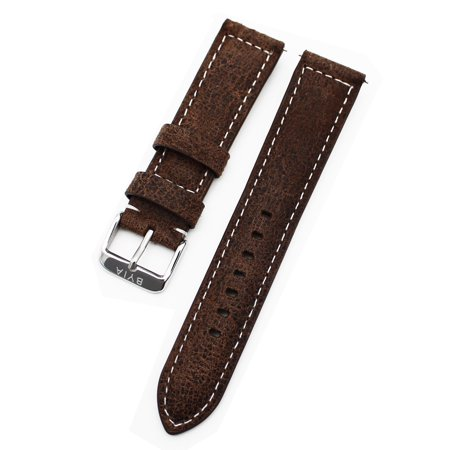 Silky Soft Genuine Watch Turtle Cracked Style Genuine Leather Strap Dark Brown