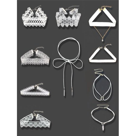 Gothic Tattoos (10PCS Choker Necklace Set Stretch Velvet Classic Gothic Tattoo Lace)