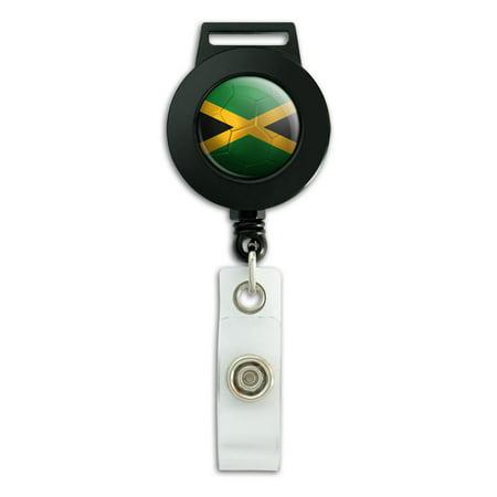 Jamaica Flag Soccer Ball Futbol Football Retractable Badge Card ID Holder ()