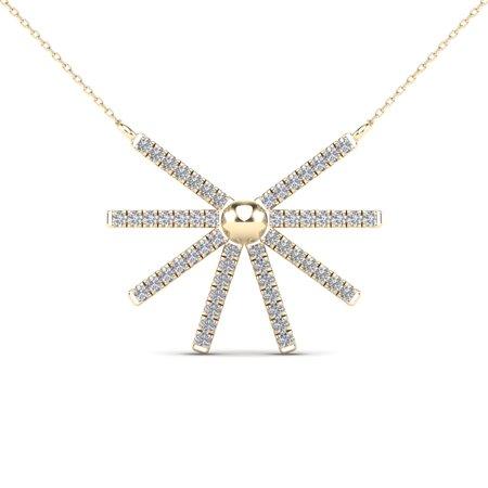 aaXia 10K Yellow Gold 1/8ct TDW Diamond Sunburst Necklace