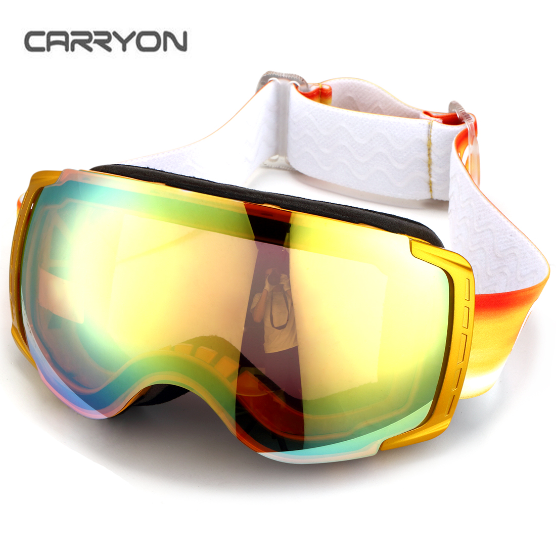 Carryon Authorized Snowboard Ski Goggles Anti-fog UV Protect OTG Over Glasses Skiing Snowmobile Gold