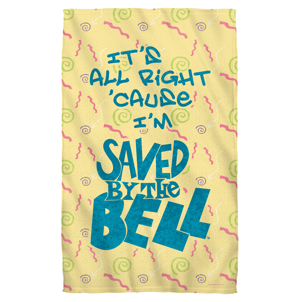 Saved By The Bell All Right Beach Towel White 36X58