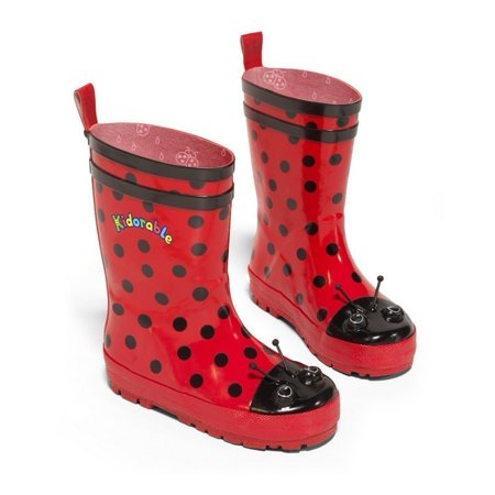Kidorable Girls Black Red Polka Dotted Print Rubber Rain Boots 11-2
