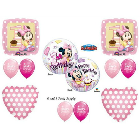 NEW!! Baby Minnie Mouse Birthday 1st First Party Balloons Decorations Supplies - Minnie Mouse 1st Birthday Personalized Banner