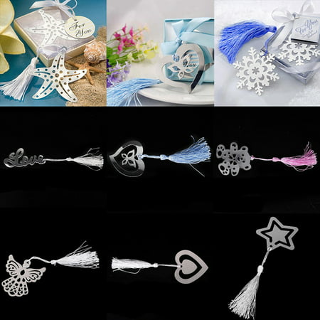 Girl12Queen Fashion Snowflake Butterfly Stainless Steel Tassel Bookmark Wedding Favor Gift