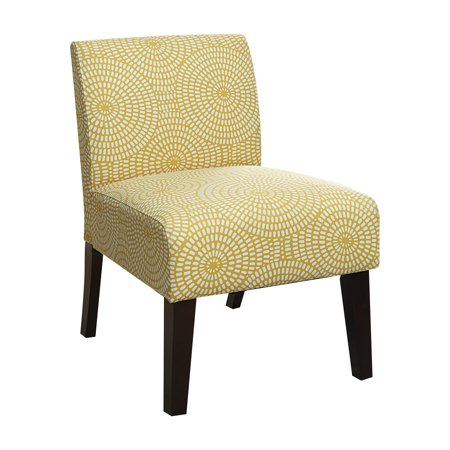 Acme Olla Accent Chair In Yellow Circular Pattern Linen