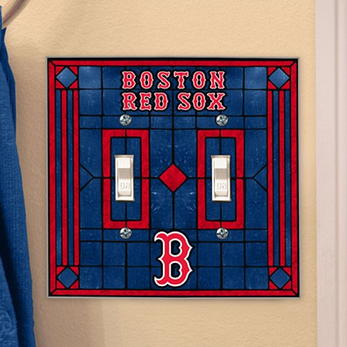 Boston Red Sox Navy Blue Art-Glass Double Switch Plate Cover - No Size