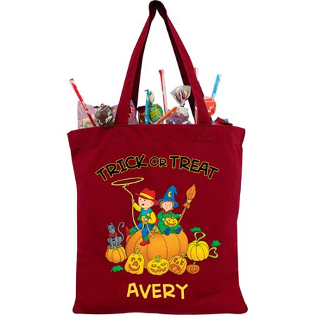 Personalized Caillou Giant Pumpkin Red Trick or Treat Bag - Caillou Halloween Episode