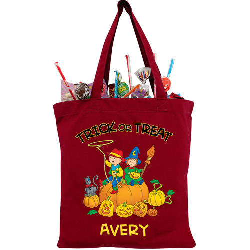 Personalized Caillou Giant Pumpkin Red Trick or Treat Bag