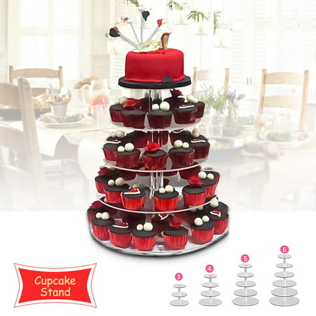 Clear Acrylic Cake Stand, 3/4/5/6 Tier Round Cake Stand Cupcake Stand Dessert Stand Tower Stand Display For Wedding