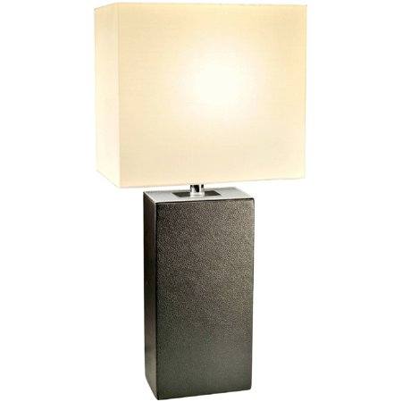Acrylic Modern Table Lamp - Elegant Designs Modern Leather Table Lamp with White Fabric Shade