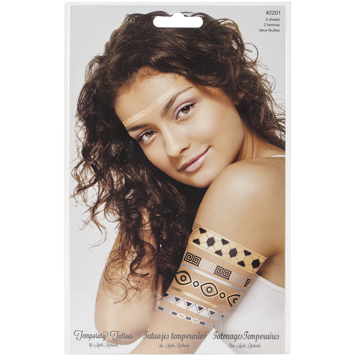 Temporary Tattoos Gold & Silver 5.5 Inch X 8 Inch 2 Sheets/Pkg-Gre