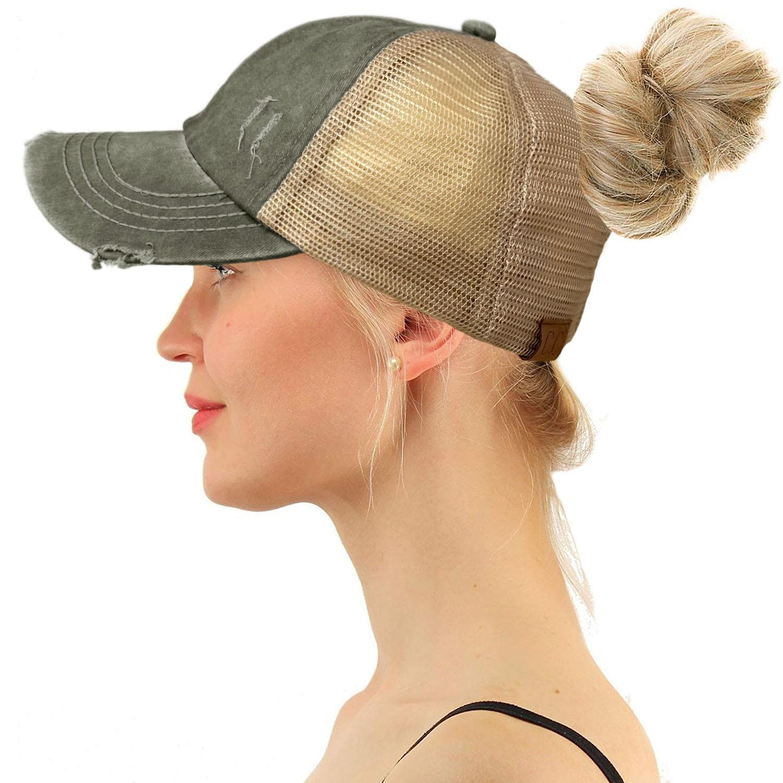 Ponytail Hat Unique High Ponytail Criss Cross Distressed Cap CC Exlusive Premium Ponytail Hat