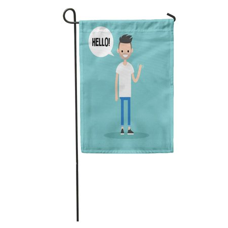 KDAGR Say Friendly Bearded Man Saying Hello and Waving Hand Clip Garden Flag Decorative Flag House Banner 12x18