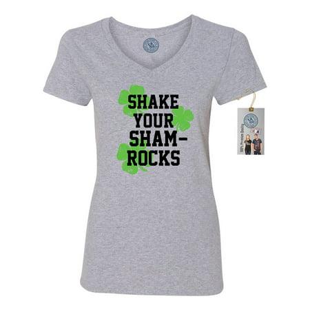St Patricks Day Shake Your Shamrocks Shirt Womens V Neck T-Shirt - St Patrick's Day Tee Shirts