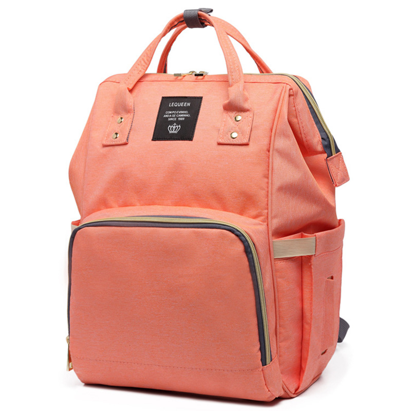 Large Capacity Mummy Maternity Nappy Bag Multifunctional Diaper Backpack Waterproof Mummy Bag Fashionable Travel Backpack for Baby Care, Orange