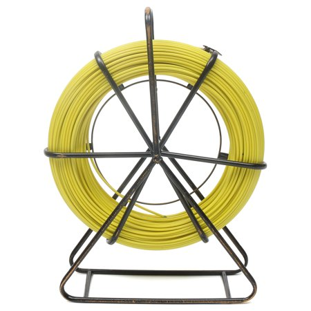 Fish Tape Fiberglass 6MM 462.5FT Duct Rodder Fish Tape Continuous Fiberglass Tape Wire Cable Running with Cage and Wheel -