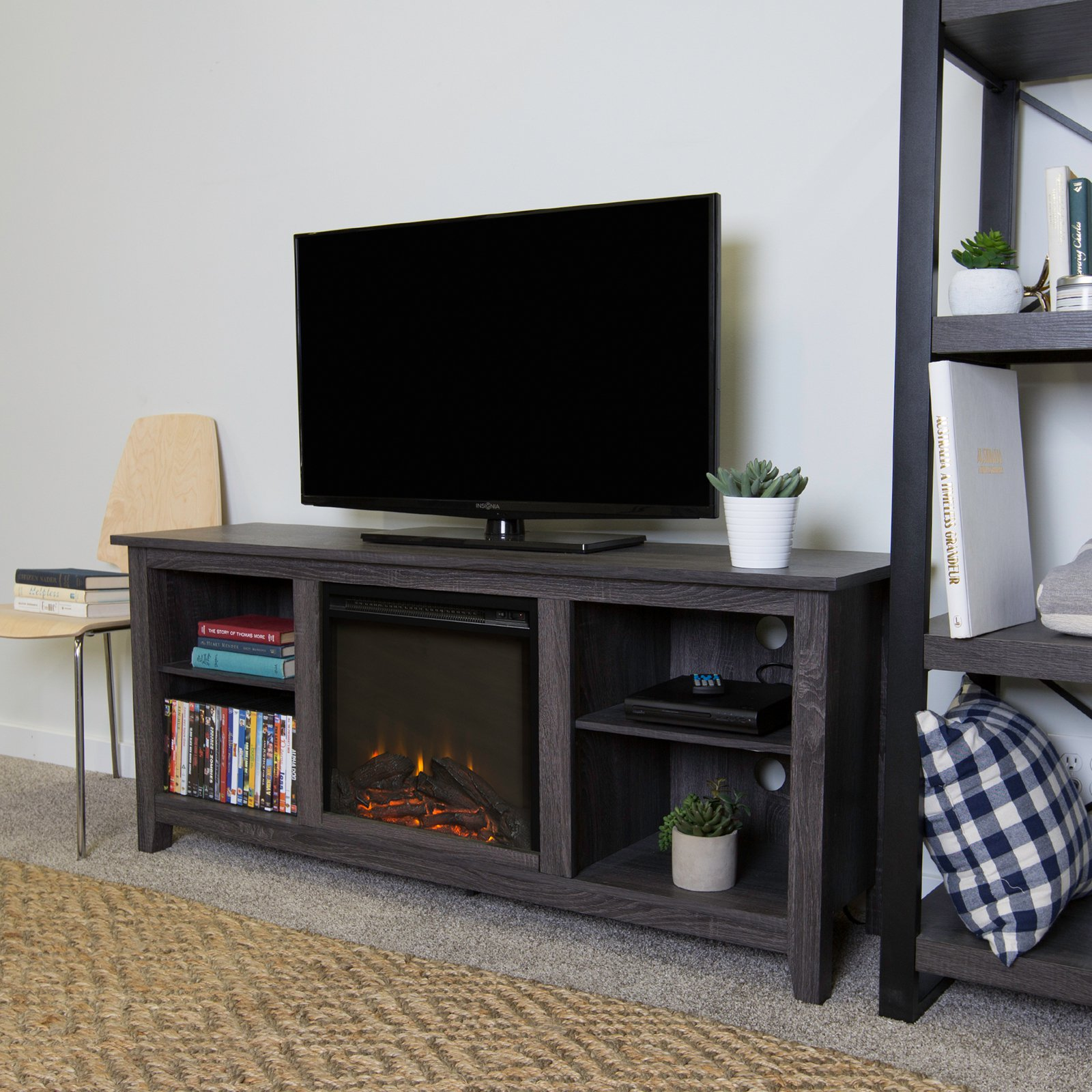 Walker Edison Charcoal Wood Fireplace TV Stand