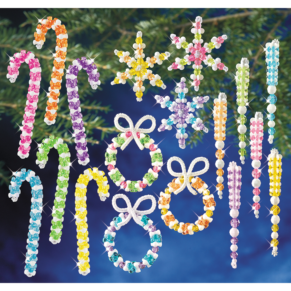 Holiday Beaded Ornament Kit Collection-Candy Colors Makes 96