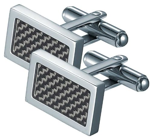 Visol VCUFF725 Michal Carbon Fiber Stainless Steel Cufflinks