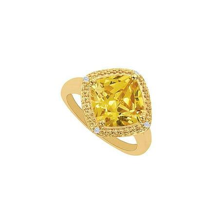 18k Bead Set Bezel - 6 CT 18K Yellow Gold Vermeil Cushion Cut Square Citrine Bezel Set Cubic Zirconia Rings, Size 6