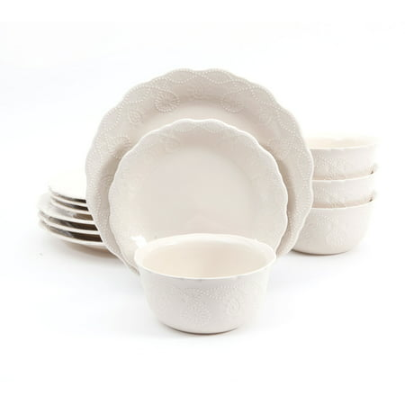 The Pioneer Woman Cowgirl Lace 12-Piece Dinnerware Set, Linen