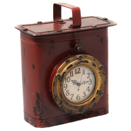Antique Style Weathered Tin Can Porthole Clock with Hidden Storage - (Function Porthole Clock)
