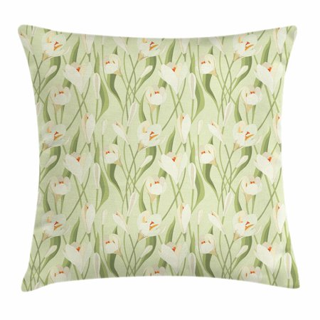 Garden Art Throw Pillow Cushion Cover, Spring Flowers Bouquet Crocuses with Healthy Fresh Petals Botanical, Decorative Square Accent Pillow Case, 18 X 18 Inches, Pale Green Cream Orange, by Ambesonne