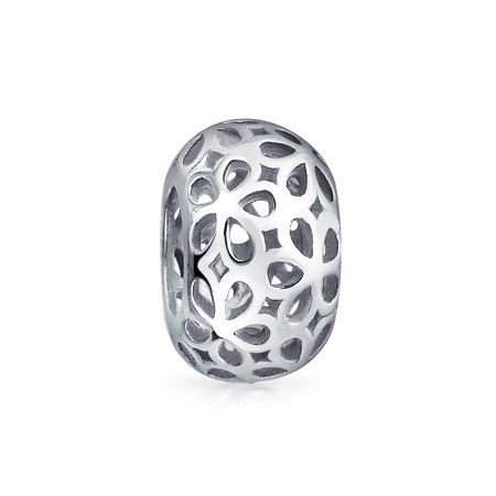Abstract Floral Filigree Bead Charm .925 Sterling Silver