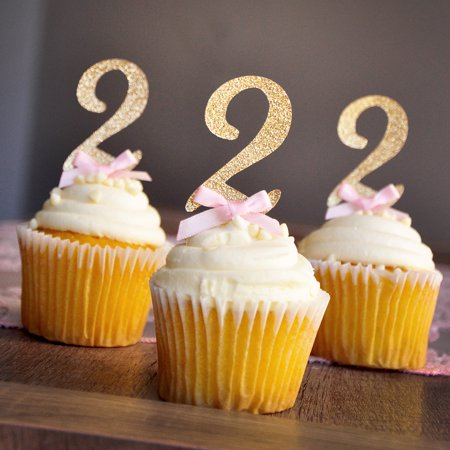 Pink and Gold Birthday Decorations. Glitter Gold Number 2 Cupcake Toppers 12CT.
