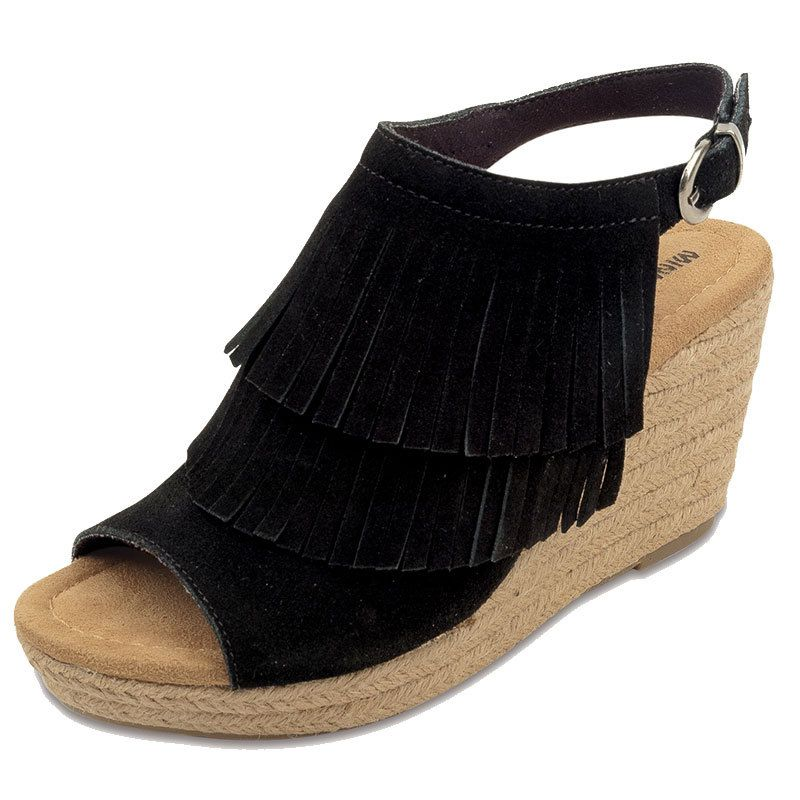 Minnetonka Womens Ashley Black Suede Fringe Wedge Shoes by MINNETONKA
