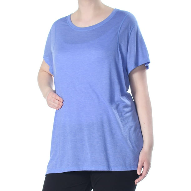 CALVIN KLEIN Womens Blue Heather Pleated Back Short Sleeve Top Plus  Size: 3X