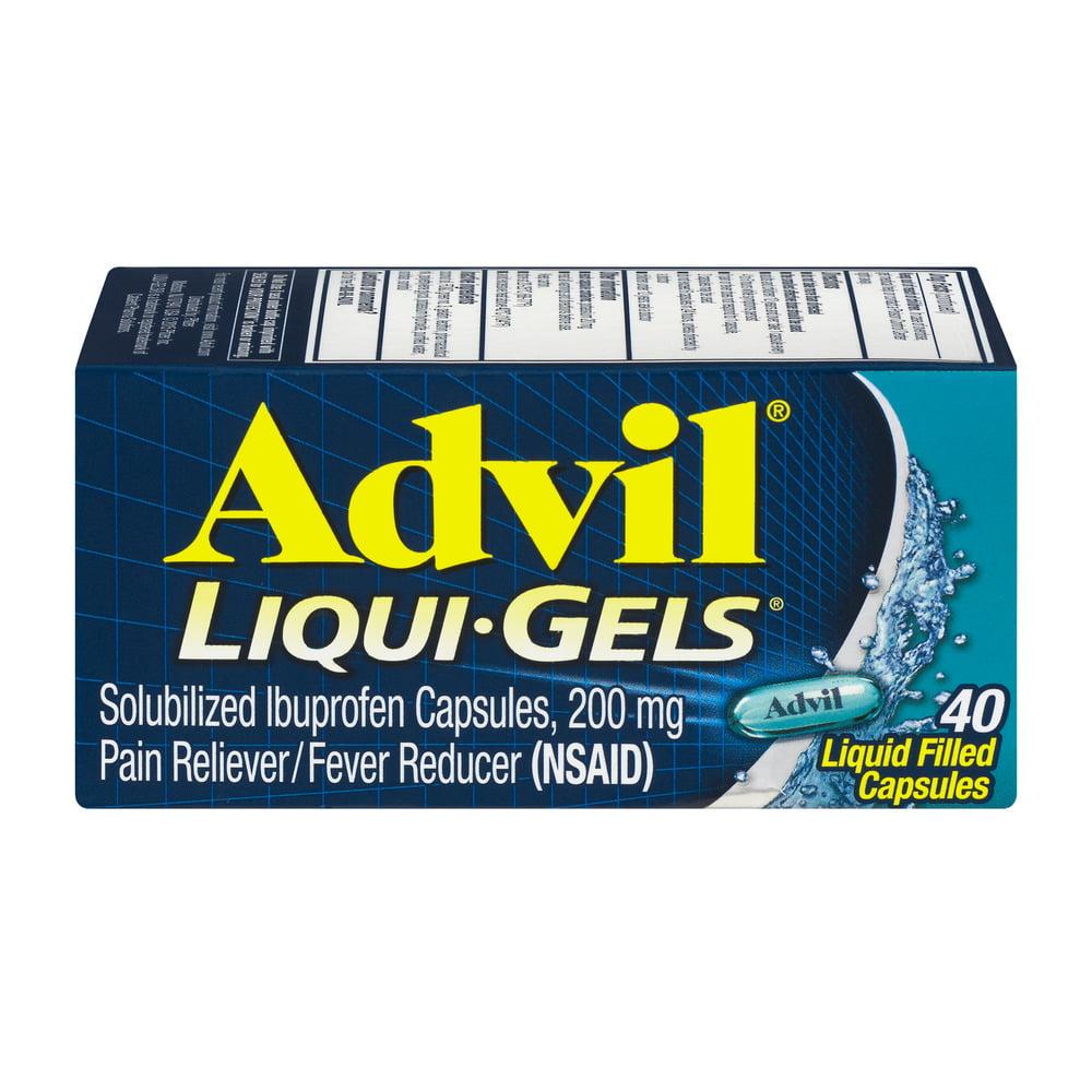 Advil Liqui-Gels (40 Count) Pain Reliever / Fever Reducer Liquid Filled Capsule, 200mg Ibuprofen, Temporary Pain Relief