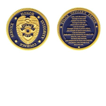 Logo Challenge Coin - Police Prayer Challenge Coin Token Deluxe Gold Plated