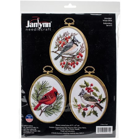 Winter Birds Embroidery Kit, Set of 3, 3