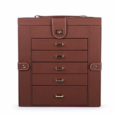 Clearance! Jewelry Box Organizer Functional Huge Lockable, Leather Jewelry Storage Case for Women Girls Ring Necklace Earring Bracelet Holder Organizer with Mirror Brown