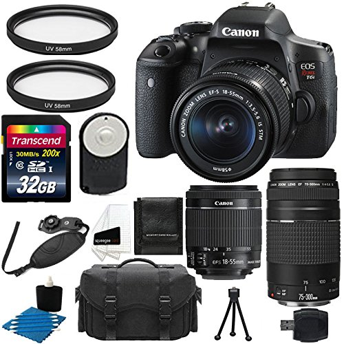 Canon EOS Rebel T6i 24.2MP Digital SLR Camera with Canon EF-S 18-55mm f/3.5-5.6 IS II Zoom Lens & EF 75-300mm f/4-5.6 III Telephoto Zoom Lens + UV Filter With 32 GB Complete Deluxe Accessory Bundle