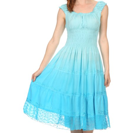 Sakkas Spring Maiden Ombre Peasant Dress - Blue - One Size