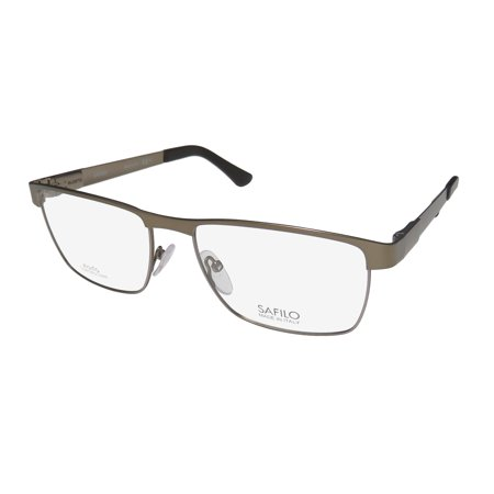 New Safilo 1004 Elasta Mens/Womens Designer Full-Rim Semi Matte Brown Prestigious Brand Authentic Casual Frame Demo Lenses 56-17-140 Spring Hinges Eyeglasses/Spectacles