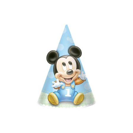 Mickey Mouse 1st Birthday 634 Paper Cone Hats 8 Pack