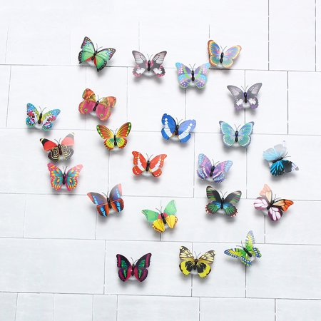 Fashion LED Glowing 3D Butterfly Night Light Sticker Art Design Mural Home Wall Decal  - image 5 of 12