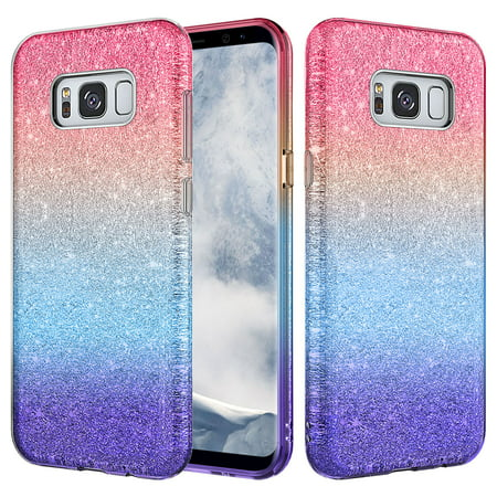 Samsung Galaxy S8 Case, SM-G950 Case, Slim Glitter Shine Hybrid TPU Case with reinforced Polycarbonate backing for Galaxy S8 - Hot Pink
