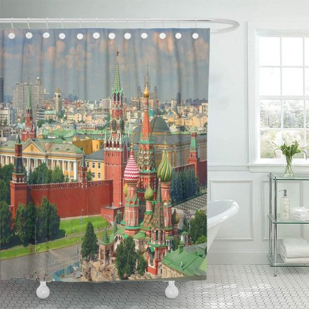 PKNMT View on Moscow Red Kremlin Towers Clock Kuranti Saint Basil's Cathedral Church Bathroom Shower Curtains 60x72 inch